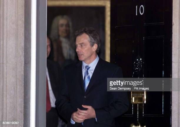 Prime Minister Tony Blair leaves Downing street after meeting the Maltese PM Edward Fenech Adami