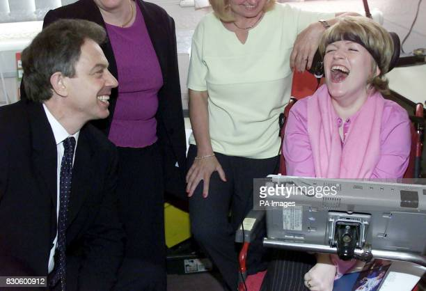 Prime Minister Tony Blair meets 19yearold Nicola Bush from Oldham at the Aiding Communication in Education Centre in Watersheddings * Nicola who...
