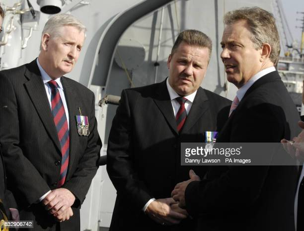 Prime Minister Tony Blair meets Falklands veterans during a visit to HMS Liverpool at Rosyth dockyard Fife Scotland