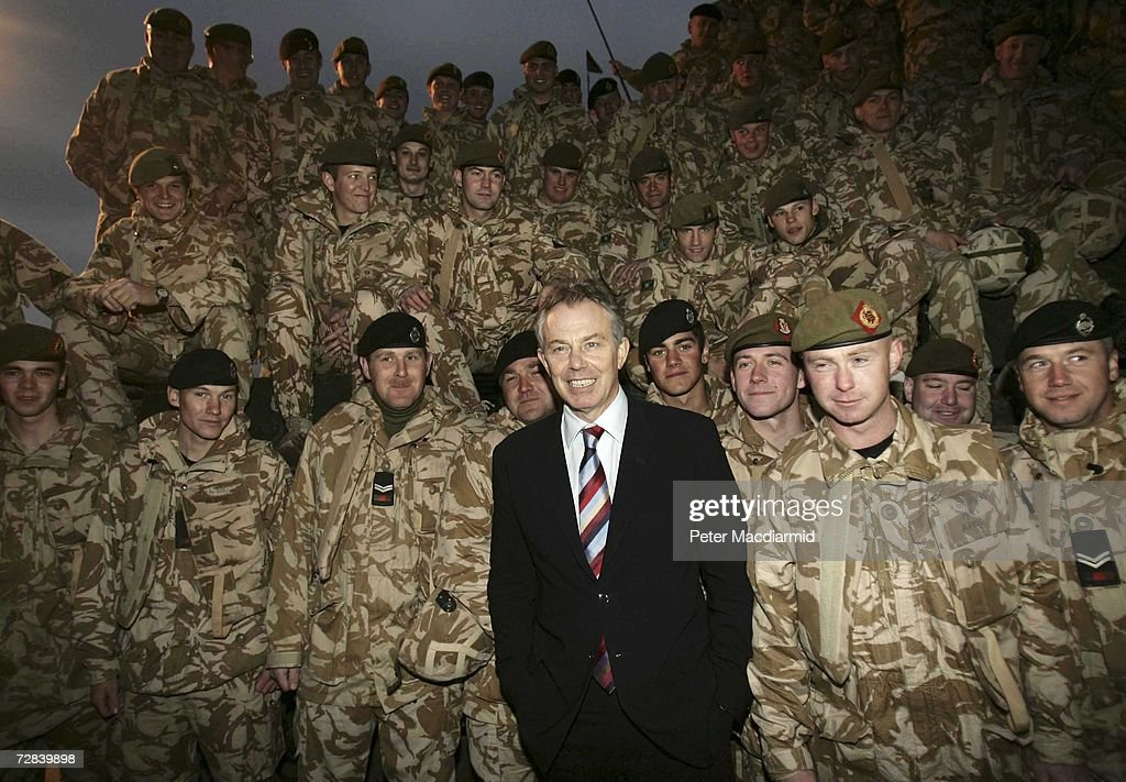 Prime Minister Tony Blair meets with British soldiers on duty in Basra on December 17, 2006 in Iraq. Blair has visited the British contingent in Iraq every Christmas since the war began.