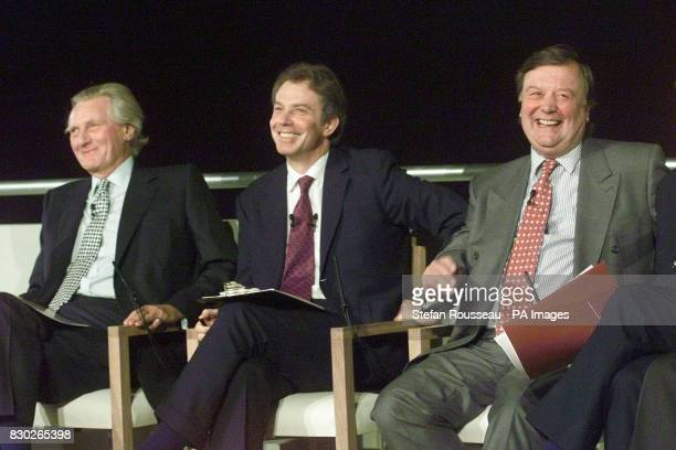 Prime Minister Tony Blair sits with senior Tories Kenneth Clarke and Michael Heseltine at the launch of the new crossparty Britain in Europe campaign...