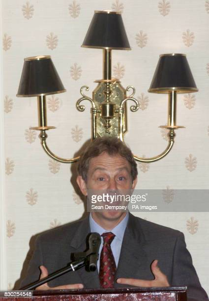 Prime Minister Tony Blair speaks to businessmen during a breakfast meeting at the Highcliffe Hotel in Bournemouth during the Labour Party Conference