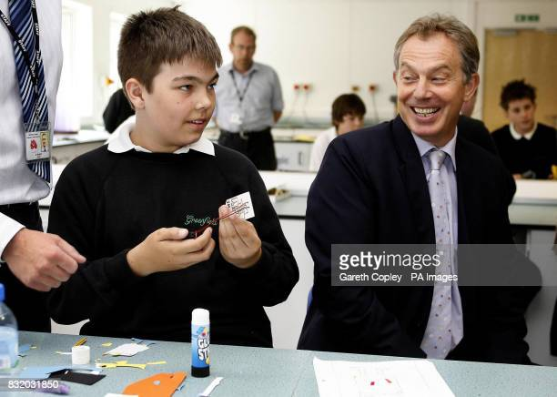 Prime Minister Tony Blair speaks to pupils at Greenfield School in Newton Aycliffe