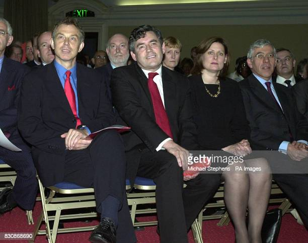Prime Minister Tony Blair with Gordon Brown and his wife and Jack Straw paying tribute to Baroness Barbara Castle of Blackburn at a memorial meeting...