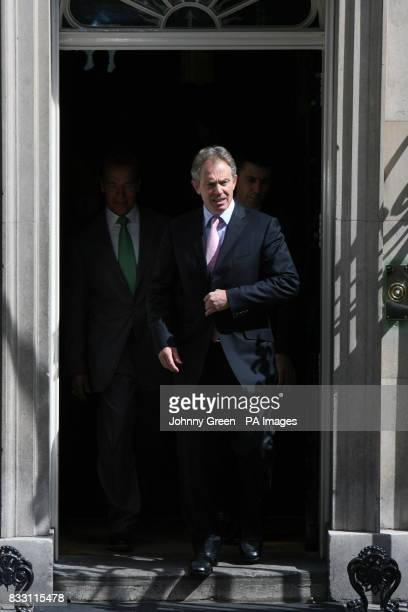 Prime Minister Tony Blair with Governor of California Arnold Schwarzenegger leaving No 10 Downing Street in central London