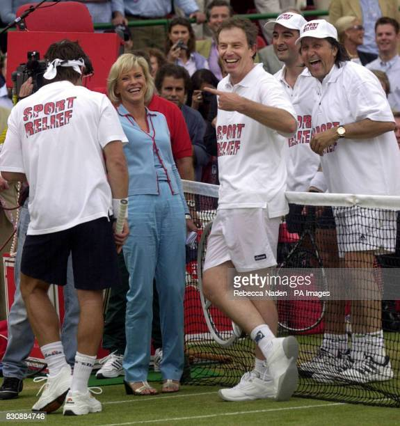 Prime Minister Tony Blair with Pat Cash Sue Barker Alistair McGowan and Ilie Nastase who participated in a game of tennis for Sport Relief during the...