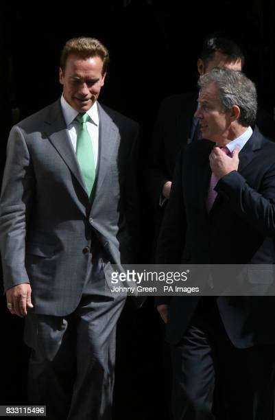 Prime Minister Tony Blair with the Governor of California Arnold Schwarzenegger leaves No 10 Downing Street in central London