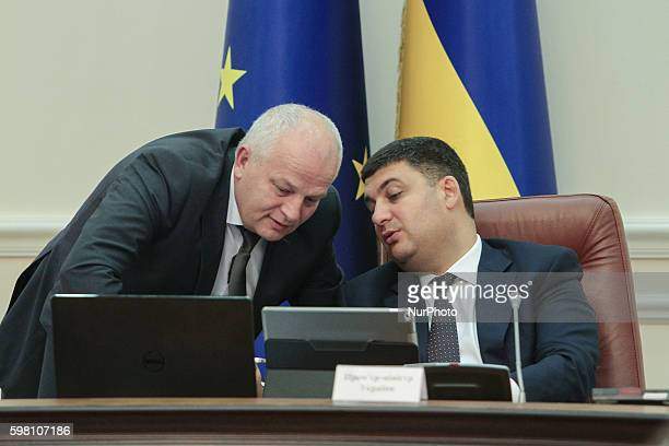 Prime minister VOLODYMYR GROYSMAN talks to First Vice Prime Minister Minister of Economic Development and Trade of Ukraine STEPAN KUBIV during the...