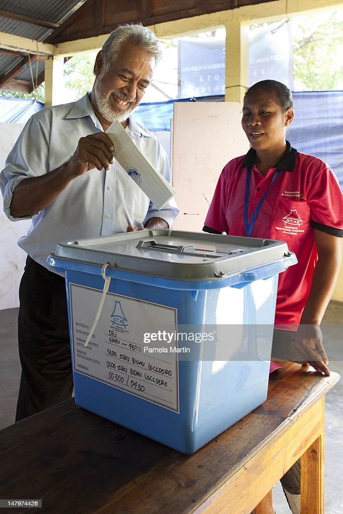 Prime Minister <a gi-track='captionPersonalityLinkClicked' href=/galleries/search?phrase=Xanana+Gusmao&family=editorial&specificpeople=223915 ng-click='$event.stopPropagation()'>Xanana Gusmao</a> casts his vote during Parliamentary Elections on July 7, 2012 in Dili, East Timor. 21 parties are contesting in the country's first election without UN assistance. The UN is due to withdraw from the sovereign state in six months if the elections happen in a peaceful and fair manner.