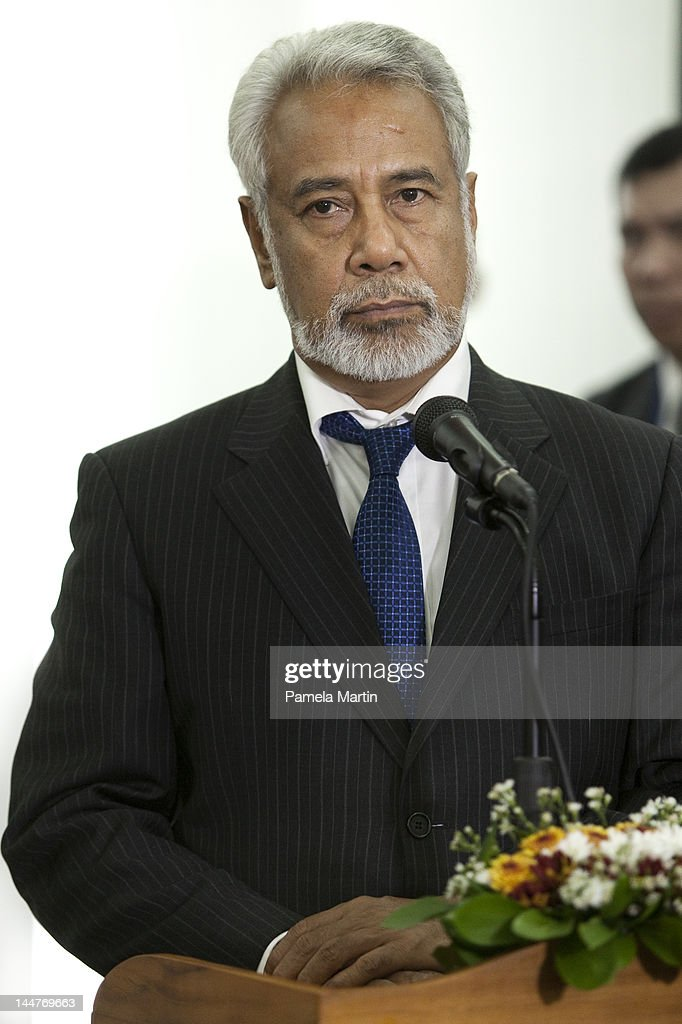 Prime Minister <a gi-track='captionPersonalityLinkClicked' href=/galleries/search?phrase=Xanana+Gusmao&family=editorial&specificpeople=223915 ng-click='$event.stopPropagation()'>Xanana Gusmao</a> speaks at a Press Conference with the President of Indonesia, Susilo Bambang Yudhoyono, at the Government Palace, as East Timor celebrates ten years of independence, and the handing over of the Presidency to President Elect Taur Matan Ruak (also known as Jose Maria Vasconcelos) who won last month's Presidential elections to replace Jose Ramos-Horta as president, on May 19, 2012 in Dili, East Timor. East Timor declared its independence from Indonesia rule and became the first new sovereign state of the 21st century on May 20, 2002 and later that year on 27 September, became the 191st member state of the United Nations. The Presidency is a ceremonial role, with power instead held by the Prime Minister, currently <a gi-track='captionPersonalityLinkClicked' href=/galleries/search?phrase=Xanana+Gusmao&family=editorial&specificpeople=223915 ng-click='$event.stopPropagation()'>Xanana Gusmao</a>, with Parliamentary elections due on July 7.