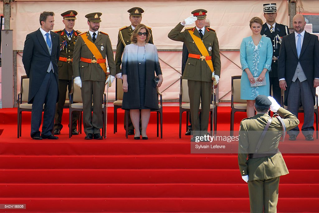 Prime Minister Xavier Bettel, Prince Guillaume of Luxembourg, Grand Duchess Maria Teresa, Grand Duke Henri of Luxembourg and Princess Stephanie of Luxembourg during the Military parade for celebration of National Day 2 at Philarmonie on June 23, 2016 in Luxembourg, Luxembourg.