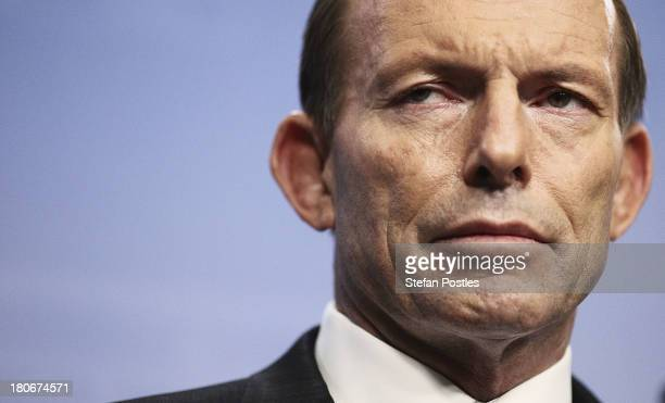 Prime Ministerelect Tony Abbott announces his ministery at Parliament House on September 16 2013 in Canberra Australia Tony Abbot will be sworn in...
