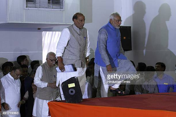 BJP prime ministerial candidate Narendra Modi along with BJP president Rajnath Singh and party senior leader LK Advani during the BJP parliament...