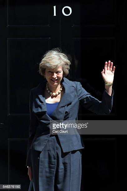 Prime Ministerinwaiting Theresa May waves as she leaves after attending a Cabinet meeting at Downing Street on July 12 2016 in London England David...