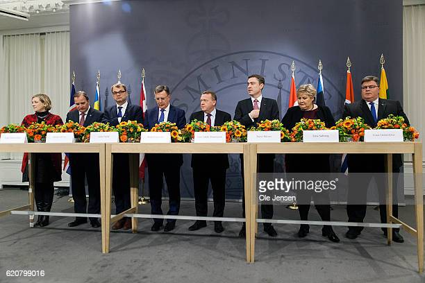 Prime Minister's from the Nordic and Baltic states holds a joint press conference during The Nordic Council's 68 session during The Nordic Council's...