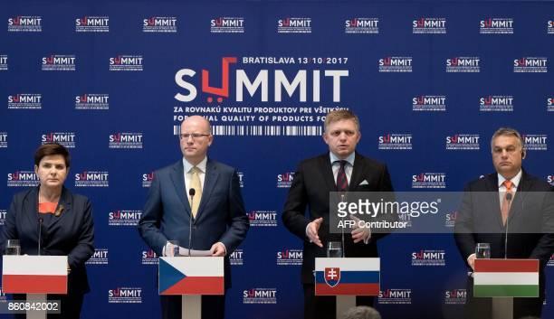 Prime ministers of the Visegrad group countries Poland's Beata Szydlo Czech Republic's Bohuslav Sobotka Slovakia's Robert Fico and Hungary's Viktor...