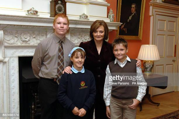Prime Minister's wife Cherie Blair meets Callum Dancer Ellie Taylor and Keaton Urdmann all from Sheffield Hillsborough at number 10 Downing Street in...