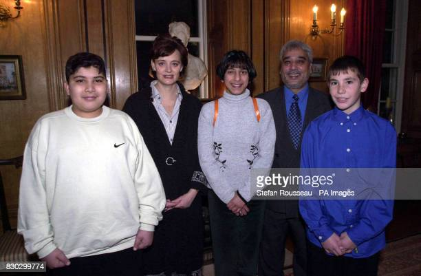 Prime Minister's wife Cherie Blair with Bradford West MP Marsha Singh and school children from his constituency Hafeez Khan Sana Shah Steven Belcher...