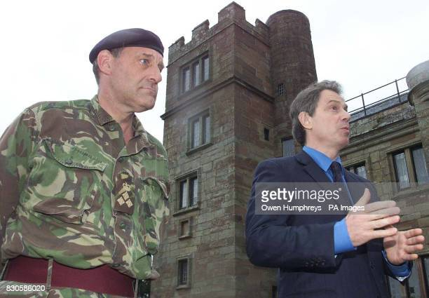Prime MinisterTony Blair with Brigadier Alex Birtwistle at Dalston Hall in Cumbria as Mr Blair arrives for a meeting with Army and Maff officials