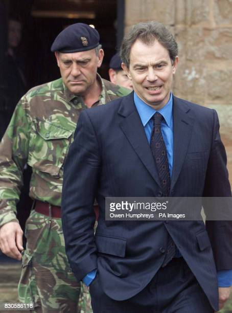 Prime MinisterTony Blair with Brigadier Alex Birtwistle at Dalston Hall in Cumbria as Mr Blair arrives for a meeting with the Army and Maff officials