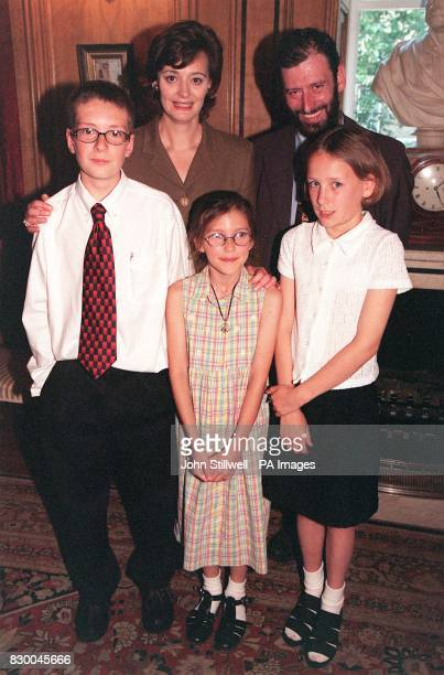 Prime Minsister's wife Cherie Blair with MP Brian White and children John Yorke Laura Wibberley and Amber Reynolds during their visit to 10 Downing...