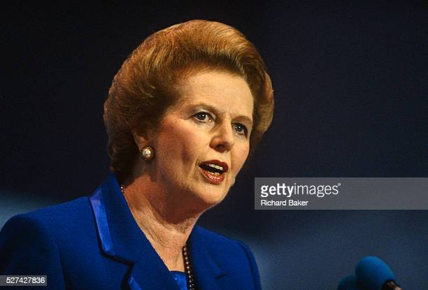 Prime Minster Margaret Thatcher is seen giving her last speech as Prime Minister at the October 1990 Conservative Party Conference in Blackpool...