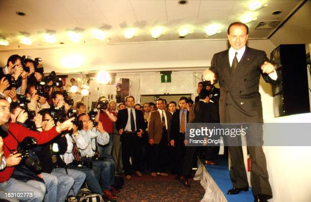 Prime Minster Silvio Berlusconi jubilates as he wins the general elections on March 29 1994 in Rome Italy