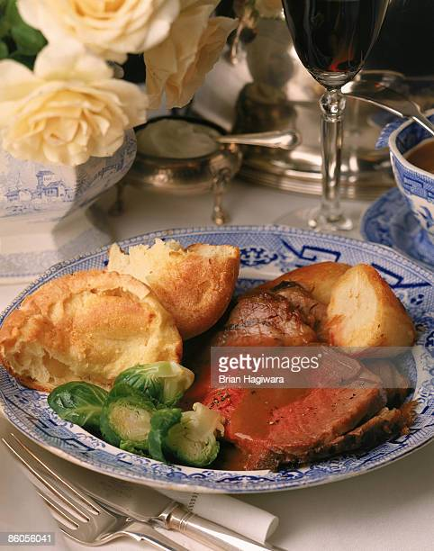 Prime rib with brussels sprouts and Yorkshire pudding