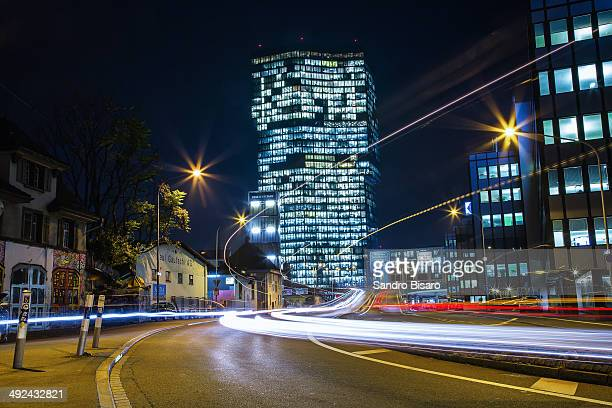 Prime Tower at night with traffic lights