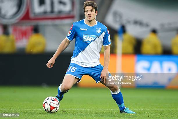 Primin Schwegler of Hoffenheim controls the ball during the Bundesliga match between 1899 Hoffenheim and 1 FC Koeln at Wirsol RheinNeckarArena on...