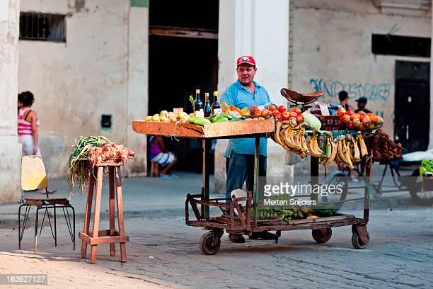 Primitive fruit stand on market square