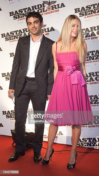 Primo Reggiani and Martina Stella attend 'Inglourious Basterds' Premiere at the Warner Cinema on September 21 2009 in Rome Italy