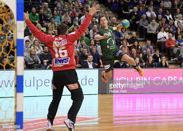 Primoz Prost of Frisch Auf Goeppingen and Hans Lindberg of Fuechse Berlin during the game between Fuechse Berlin and Frisch Auf Goeppingen on...