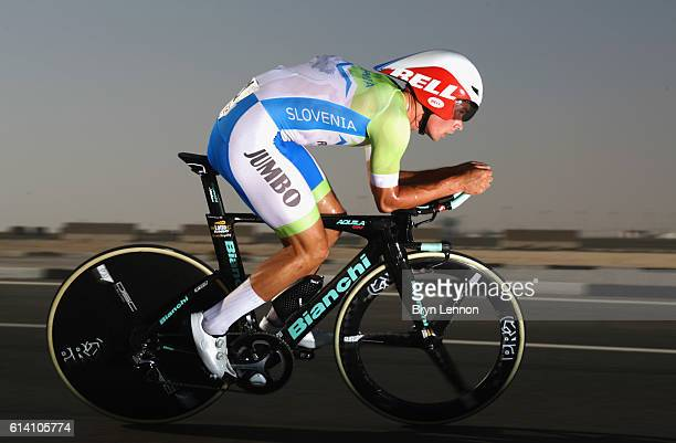 Primoz Roglic of Slovenia rides during the Men's Elite Individual Time Trial on Day Four of the UCI Road World Championships at Lusail Sports Complex...