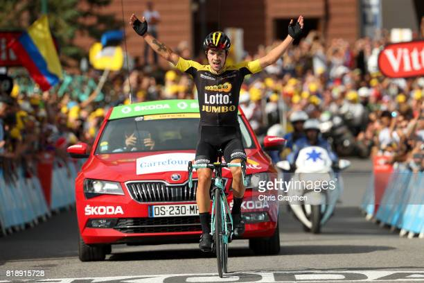 Primoz Roglic of Slovenia riding for Team Lotto NLJumbo celebrates as he wins during stage 17 of the 2017 Le Tour de France a 183km stage from La...