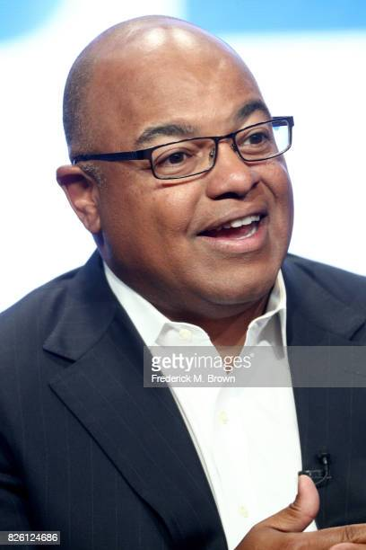 Primtetime Host Mike Tirico of ''The Winter Olympics' panel speaks onstage during the NBCUniversal portion of the 2017 Summer Television Critics...