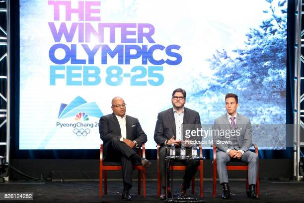 Primtetime Host Mike Tirico President NBC Olympics Production and Programming Jim Bell and Short Track Speed Skating Analyst Apolo Ohno of ''The...