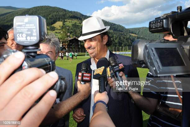 Prince Abdul Mohsin Al Hokair answers questions during a press conference during a Palermo training session at Sportarena on July 19 2010 in Bad...