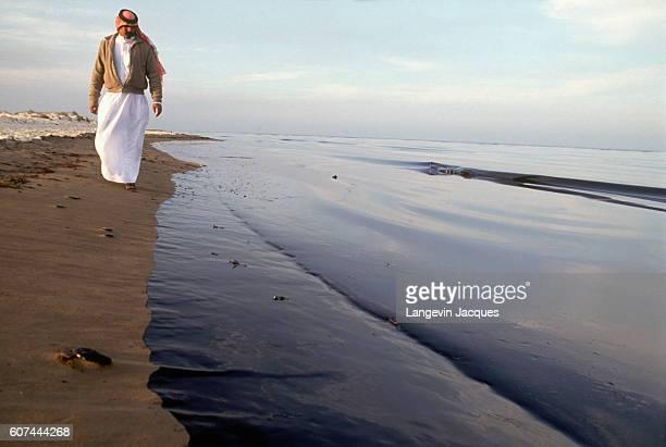 Prince Abdullah bin Faisal bin Turki alSaud visits the Jubail coastline after the Persian Gulf oil spill During the 19901991 Persian Gulf War Iraq...