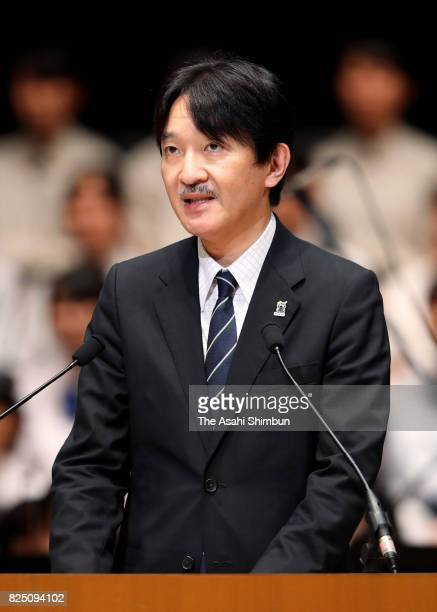 Prince Akishino addresses during the opening ceremony of the 41st All Japan High School Cultural Festival on July 31 2017 in Sendai Japan