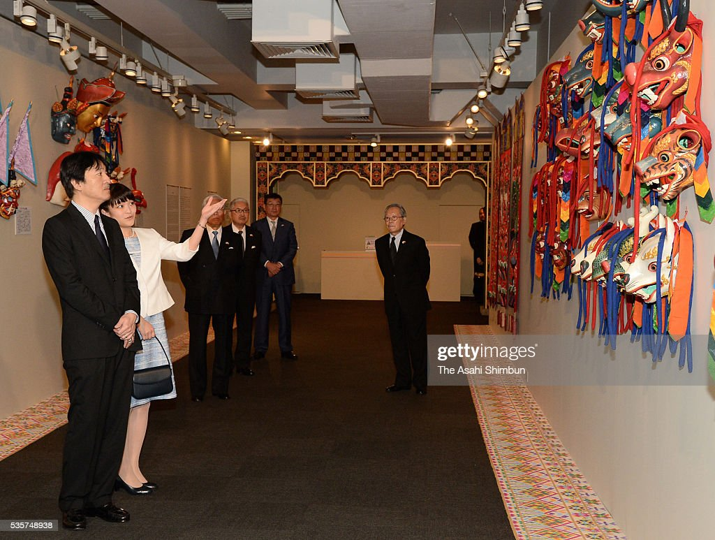 Prince Akishino and his elder daughter Princess Mako of Akishino visit the Bhutan exhibition at the Ueno Royal Museum on May 30, 2016 in Tokyo, Japan.