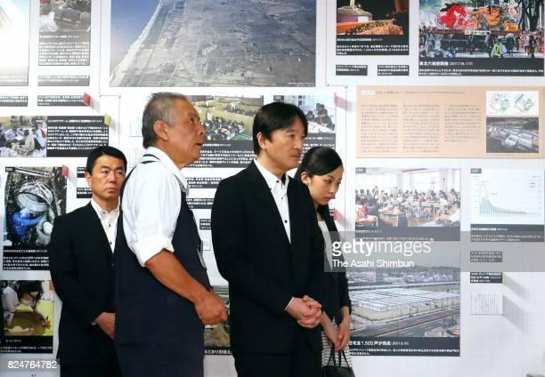Prince Akishino and his second daughter Princess Kako visit the Sendai 3/11 Momorial Community Center on July 30 2017 in Sendai Japan