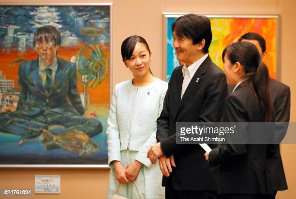 Prince Akishino and his second daughter Princess Kako visit the Miyagi Museum of Art to see artworks of the award winners of the 41st All Japan High...