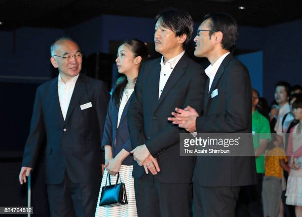 Prince Akishino and his second daughter Princess Kako visit the Sendai UminoMori Aquarium on July 30 2017 in Sendai Japan
