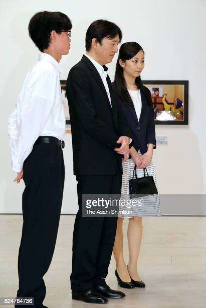 Prince Akishino and his second daughter Princess Kako visit the Sendai Mediatheque to see pictures of the award winners of the 41st All Japan High...