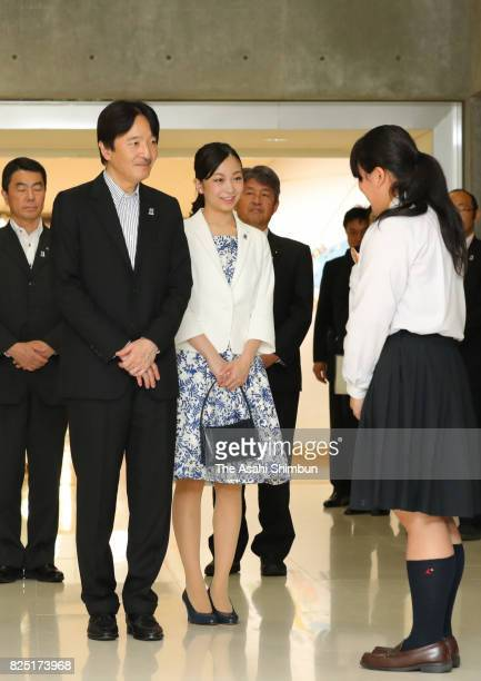 Prince Akishino and his second daughter Princess Kako visit the Tohoku Histroy Museum to see exhibits of the 41st All Japan High School Cultural...