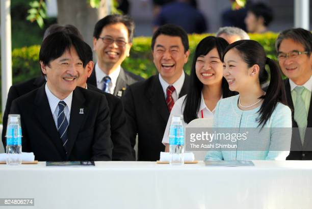 Prince Akishino and his second daughter Princess Kako watch the parade of the 41st All Japan High School Cultural Festival on July 31 2017 in Sendai...