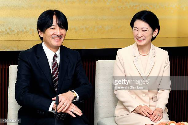 Prince Akishino and his wife Kiko attend a press conference ahead of his 50th birthday at his residence on November 19 2015 in Tokyo Japan