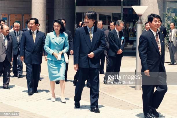 Prince Akishino and Princess Kiko of Akishino are seen on arrival at Matsuzakaya Department Store Yokkaichi branch to see an exhibition as a part of...