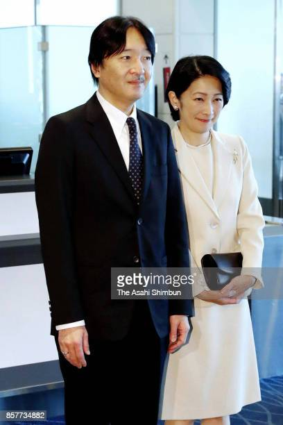 Prince Akishino and Princess Kiko of Akishino are seen on arrival at Haneda International Airport on October 4 2017 in Tokyo Japan